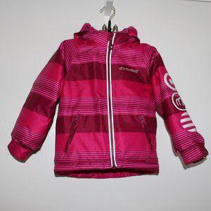MINYMO Girls 2T Pink Striped Ski Snow Jacket Coat